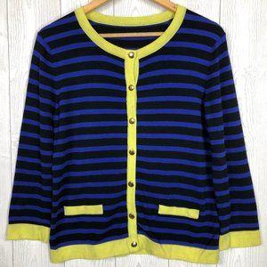 Sweaters - Classic Striped Blue Black Neon Green Cardigan